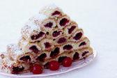 """Cake """"Monastic hut""""- cherry dessert — Stock Photo"""