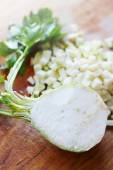diced celery on a wooden board — Stock Photo