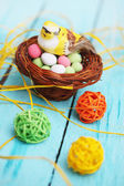 Bird in the basket, Easter decoration — Stock Photo