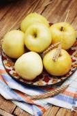 Apples on the rustic table, tinted — Stock Photo