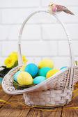 Big basket with eggs — Stock Photo
