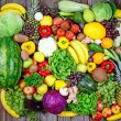 Huge group of fresh vegetables and fruit on wooden background - — Stock Photo #51893027