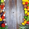 Huge group of fresh vegetables and fruit on wooden background - — Stock Photo #51904935