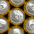 Abstract vie of cold cans with refreshing drink background — Stock Photo #51932979