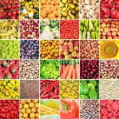 Huge collage of various healthy Fruit and Vegetables — Foto Stock