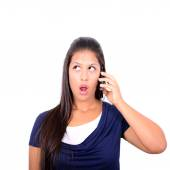Beautiful woman talking on cellphone and being in shock of news  — Stock Photo
