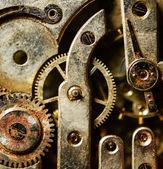 Extreme macro shot of vintage rusted clock mechanism — Zdjęcie stockowe