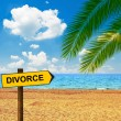 Tropical beach and direction board saying DIVORCE — Stock Photo #54508183