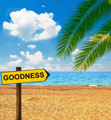 Tropical beach and direction board saying GOODNESS — Stock Photo