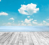Tropical beach and wooden floor — Stock Photo
