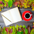 Colorful autumn background with autumnal leaves book and coffee — Stock Photo #57905771