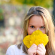 Autumn woman happy with colorful fall leaves — Stock Photo #57912237