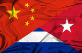 Waving flag of Cuba and China — Foto de Stock