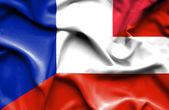 Machać flaga Austrii i Francji — Zdjęcie stockowe