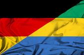 Waving flag of Gabon and Germany — Stock Photo