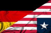 Waving flag of Liberia and Germany — Foto de Stock