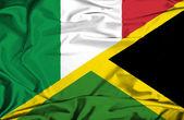 Waving flag of Jamaica and Italy — Zdjęcie stockowe