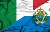 Waving flag of San Marino and Italy — 图库照片