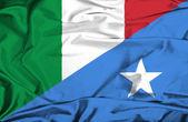 Waving flag of Somalia and Italy — Stock Photo