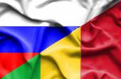 Waving flag of Mali and Russia — Stock Photo