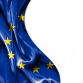 European Union waving satin flag isolated on white background — Stock Photo