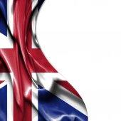 великобритания, махающая атласным флагом, изолирована на белом фоне — Стоковое фото
