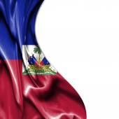 Haiti waving satin flag isolated on white background — Stok fotoğraf