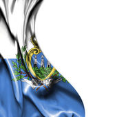 San Marino waving satin flag isolated on white background — Foto Stock