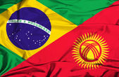 Waving flag of Kyrgyzstan and Brazil — Foto Stock