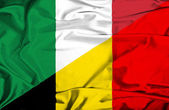 Waving flag of Belgium and  Italy — Stock Photo
