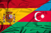 Waving flag of Azerbajan and Spain — Stock Photo