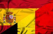 Machać flaga Belgii i Hiszpanii — Zdjęcie stockowe