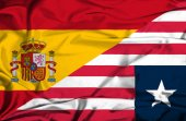 Waving flag of Liberia and Spain — Stock Photo