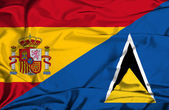 Waving flag of St Lucia and Spain — Стоковое фото
