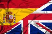 Sventolando la bandiera del regno unito e spagna — Foto Stock