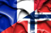 Waving flag of Norway and France — Foto de Stock