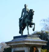Statue representing the General Joan Prim on a horse in Barcelon — Zdjęcie stockowe