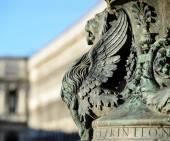 Fragmento arquitectónico de la estatua de León alado de Venecia. Detalle de la — Foto de Stock