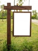 Blank wooden board in nature — Stock Photo