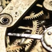 Macro shot of old clock mechanism — Stock Photo