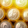 Abstract vie of cold cans with refreshing drink background — Stock Photo #72896659
