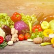 Huge group of fresh vegetables on wooden  table - Hight quality — Stock Photo #72913187