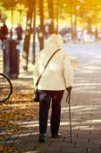 Old lady walking with stick — Stock Photo