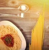 Spaghetti bolognese with  tomato sauce — Stock Photo