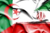 Waving flag of Iran and Algeria — Foto de Stock