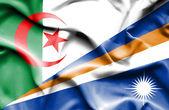马绍尔群岛和阿尔及利亚那飘扬的旗帜 — 图库照片