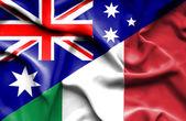 Waving flag of Italy and Australia — Stock Photo