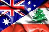 Waving flag of Lebanon and Australia — Foto Stock