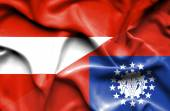 Waving flag of Myanmar and Austria — Stock Photo