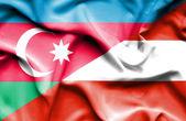 Waving flag of Austria and Azerbaijan — Stock Photo